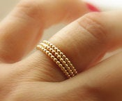 Image of 3 Beaded / Dotted Yellow Gold Filled Stackable Rings (eternity bands) made to order