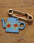 Image of Blue Enamel Teapot Pin