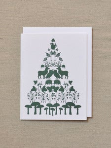Image of Tree of Animals - Green Holiday card