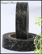 Image of Black &amp; White Script Washi Tape - Japanese Masking Tape - Ophelia Insanity Script - 15mm x 15m