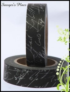 Image of Black & White Script Washi Tape - Japanese Masking Tape - Ophelia Insanity Script - 15mm x 15m