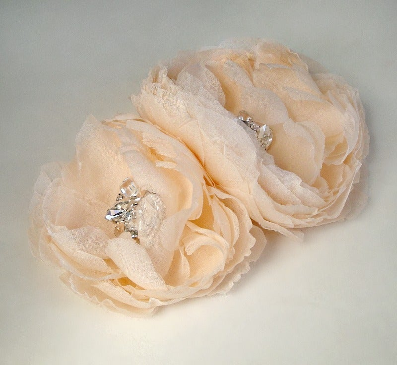 Image of Hera Double Flower Gemstone Beaded Fascinators