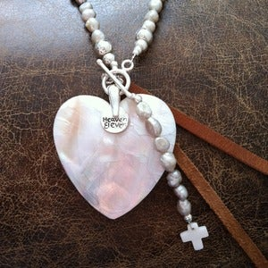 Image of Boho Pearl and Heart Necklace