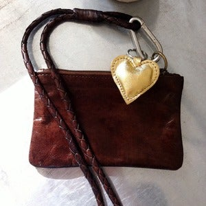 Image of Boho Leather Purse Bag - Chocolate &amp; Gold