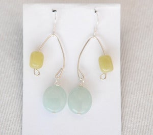 Image of Amazonite &amp; Olive jade fish lure inspired earrings