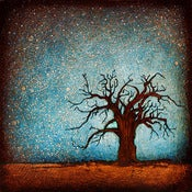 "Image of 12x12"" Panel Print - Horizon Series - Baobab Tree 1 Blue"