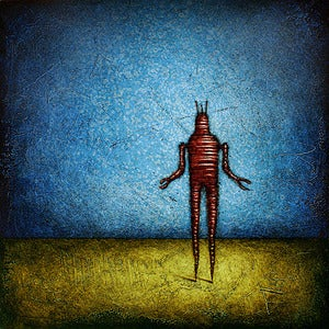 Image of 12x12&quot; Panel Print - Horizon Series - RobotC 1 Blue/Red