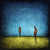 "Image of 12x12"" Panel Print - Horizon Series - Human Two 1 Blue/Green"