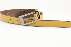 Image of Yellow 'Slim Jim' Leather Belt
