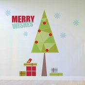 Image of Christmas Tree and Presents Wall Decal Sticker Removable and Reusable