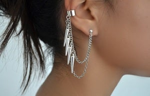 Image of dangling spikes earcuff