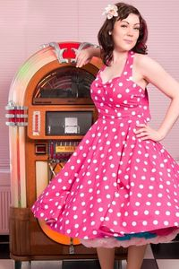Image of Pink & White Polka Dot Halterneck Dress