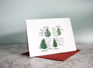 Image of evergreen trees blank note card