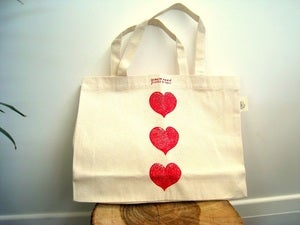 Image of hand block printed bag - big mama - red love hearts or green apples