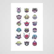 Image of Monster Heads Print
