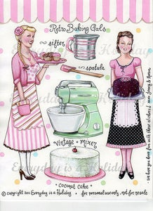 "Image of ""Retro Baking Gals"" Full color sticker sheet"