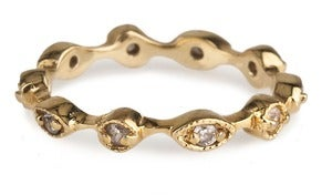 Image of  Kara Ackerman <i> Talulah <i/> Marquise Rings in Yellow Vermeil with White Stones