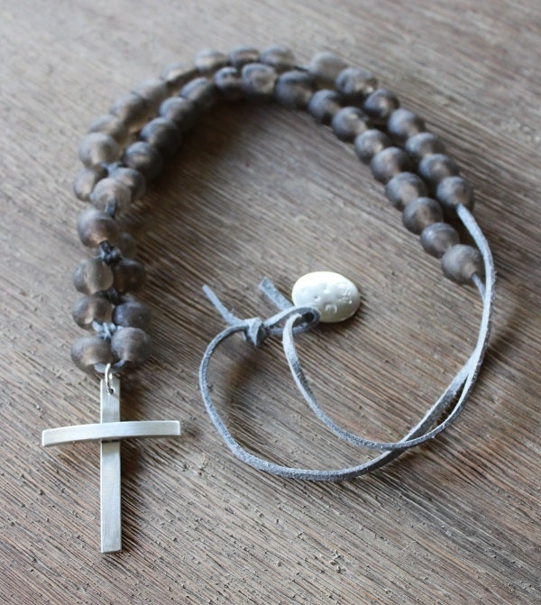 Image of Chunky Bead &amp; Silver Cross Necklace - Greige