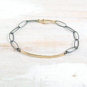 Image of sliver mixed metal link ID bracelet