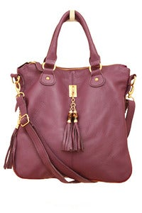 Image of Purple Leather Tassel Satchel