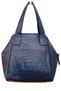 Image of Blue Leather 'Croco-Hexagon' Tote
