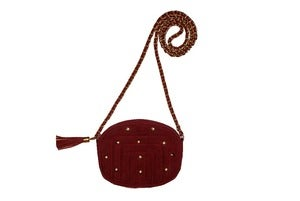 Image of Cranberry Suede Studded Mini Bag