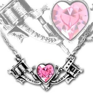 Image of Tattoo Gun w/ Swarovski Pink Heart Pendant Necklace - Painted Lady