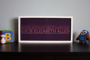 Image of 4 Generation Lineage Family Tree | 19&quot;x9&quot; with serif typeface