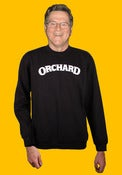Image of Orchard Crewneck Sweatshirt - Embroidered Text Logo - Black