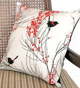 Image of CUSHION SMALL 'Red-backed Wren & Wattle'