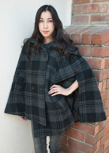 Image of Plaid Cape Coat