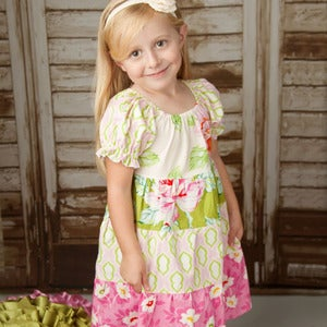Image of Peasant Twirl Dress Pattern for Girls - Long Sleeves and Short - Girls 2 - 10