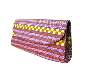 Image of Purple &amp; Gold Stripe Clutch