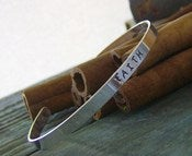Image of Simple clasic sterling Cuff Bracelet... hand stamped sterling silver personalized cuff