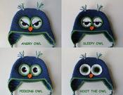 Image of Owl Hat Crochet Pattern - Angry Owl, Sleepy Owl, Hoot the Owl, Peeking Owl