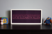 "Image of 5 Generation Lineage Family Tree | 19¾""x9"" with serif typeface"