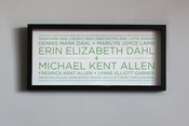 "Image of 4 Generation Lineage+ Family Tree | 19¾""x9"" with sans serif typeface"