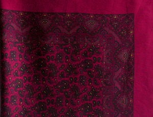 Image of Large Maroon Vintage Silk Scarf with Small Paisley Design 35""