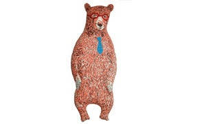 Image of Illustrated Office Bear-Pink