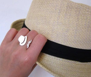Image of Mr.Mustache with Fedora Hat - Handmade Silver Rings