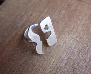 Image of Mr. Mustache in Love, Heart Ring - Handmade Silver Ring