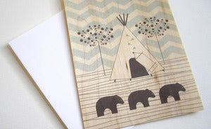 Image of Bears in Forest Wood Cards