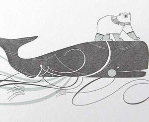Image of Polar Bear & Whale Letterpress Notecards