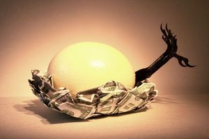 "Image of Original Art Ostrich Egg Sculpture ""The Birth of OMARINA"""
