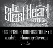 Image of THE STEEL HEART ATTACK CUSTOM FONT