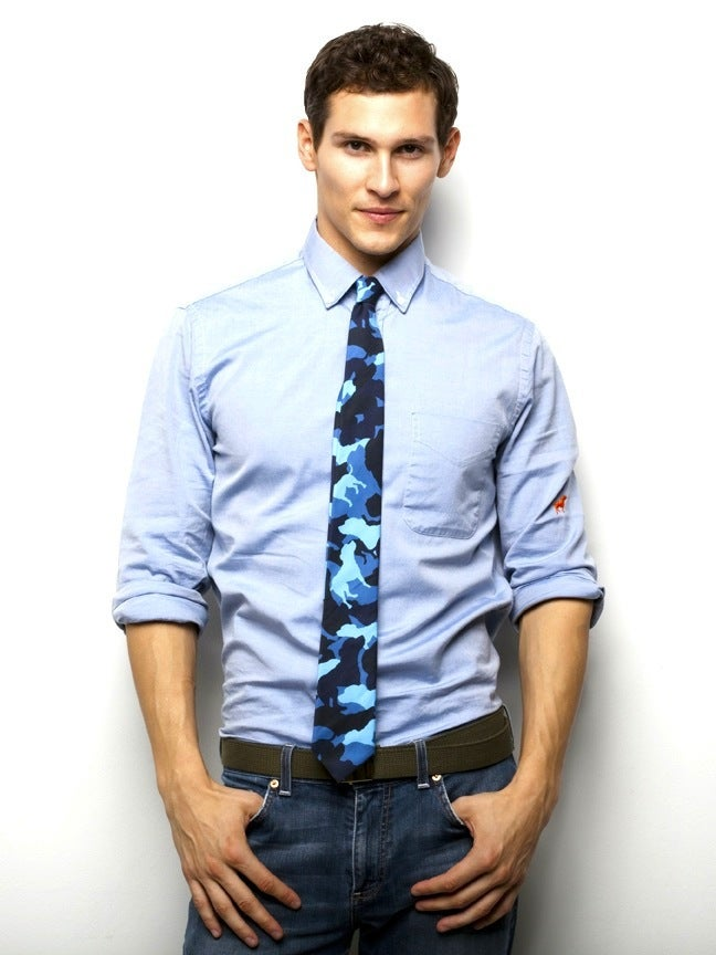 Image of BLUE TINY TIM CAMOUFLAGE SKINNY TIE
