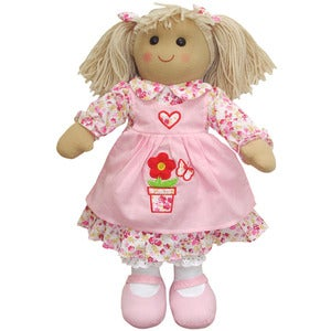 Image of Powell Craft Rag Doll - Pink Pinafore Dress