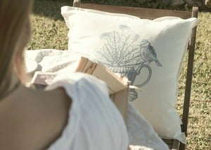 Image of early bird cushion cover {grey mist}