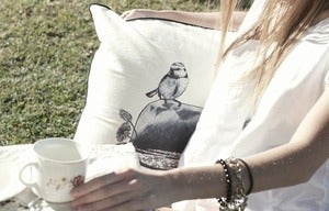 Image of lost and found cushion cover {black}