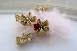 Image of Fascinator with Taupe and Cerise Sakura Kanzashi on a Pink Tulle Puff